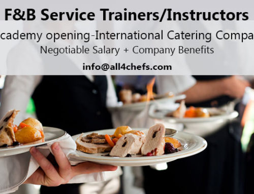 F&B Service Trainers-Instructors -Academy opening-International Catering Company