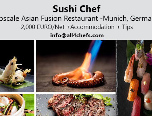Sushi chef upscale Asian fusion restaurant Munich