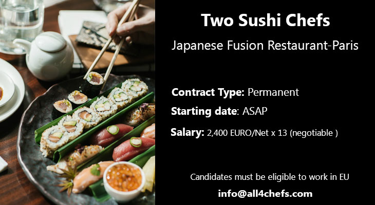 All4Chefs hiring sushi chefs in Paris